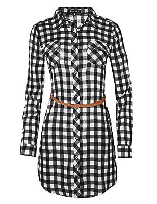Ladies' Code Women's 3/4 Roll Up Sleeve Plaid Shirt Dress with Belt