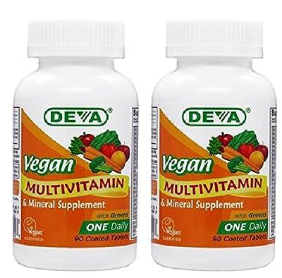 Deva Nutrition Vegan Vitamins Daily Multivitamin & Mineral Tablets, 2 Count