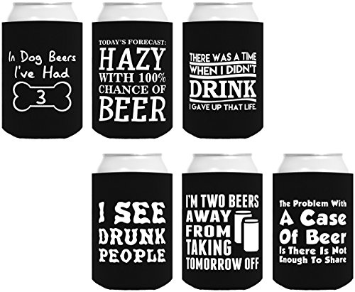 Funny Can Coolie Gift Bundle Funny Sayings Joke Gag Gifts 6 Pack Can Coolie Drink Coolers Coolies Set (Funny Beer Jokes)