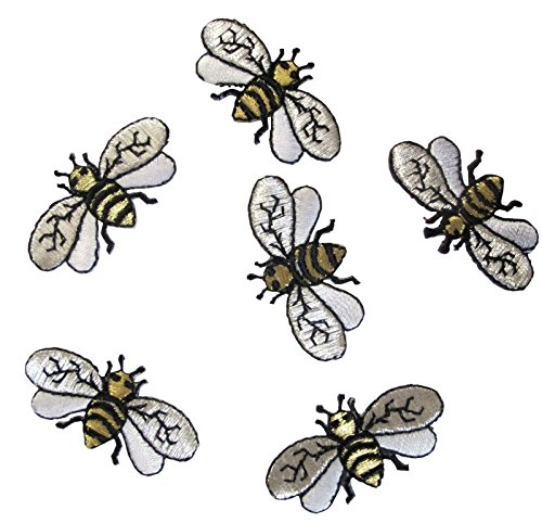Embroidered Bumble Bee ([6 Count Set] Custom and Unique (1 5/8