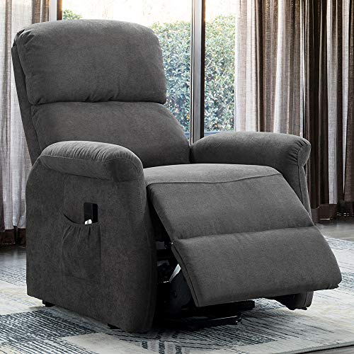 Bonzy Home Power Lift Recliner Chair for Elderly – Simple Electric Lift Chairs Recliner Reclining Chair for Living Room Sofa Chair (High Glass Grey) – Thicker Padded Back and Seat Upholstery
