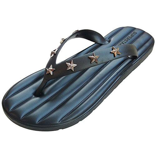 LONGWEIZ Men's Flip Flops Sandals Superstar (9-9.5 D(M) US, Black) by LONGWEIZ