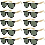 WHOLESALE BAMBOO ECO FRIENDLY MODERN RETRO 80'S CLASSIC SUNGLASSES - 10 PACK (Matte Black | Olive Lens, 52)
