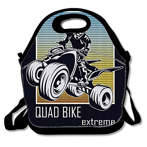 (Quad Bike Extreme Lettering with Silhouette Racer on Gradient Colored Background Bags For Men Women Adults Kids Toddler Nurses With Adjustable Shoulder Strap - Neoprene Lunch)