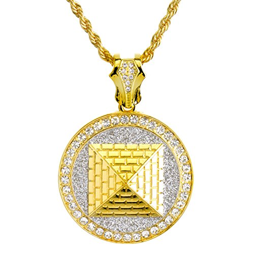 14K Gold Plated Iced Out Egyptian Pyramid Medallion Pendant 26