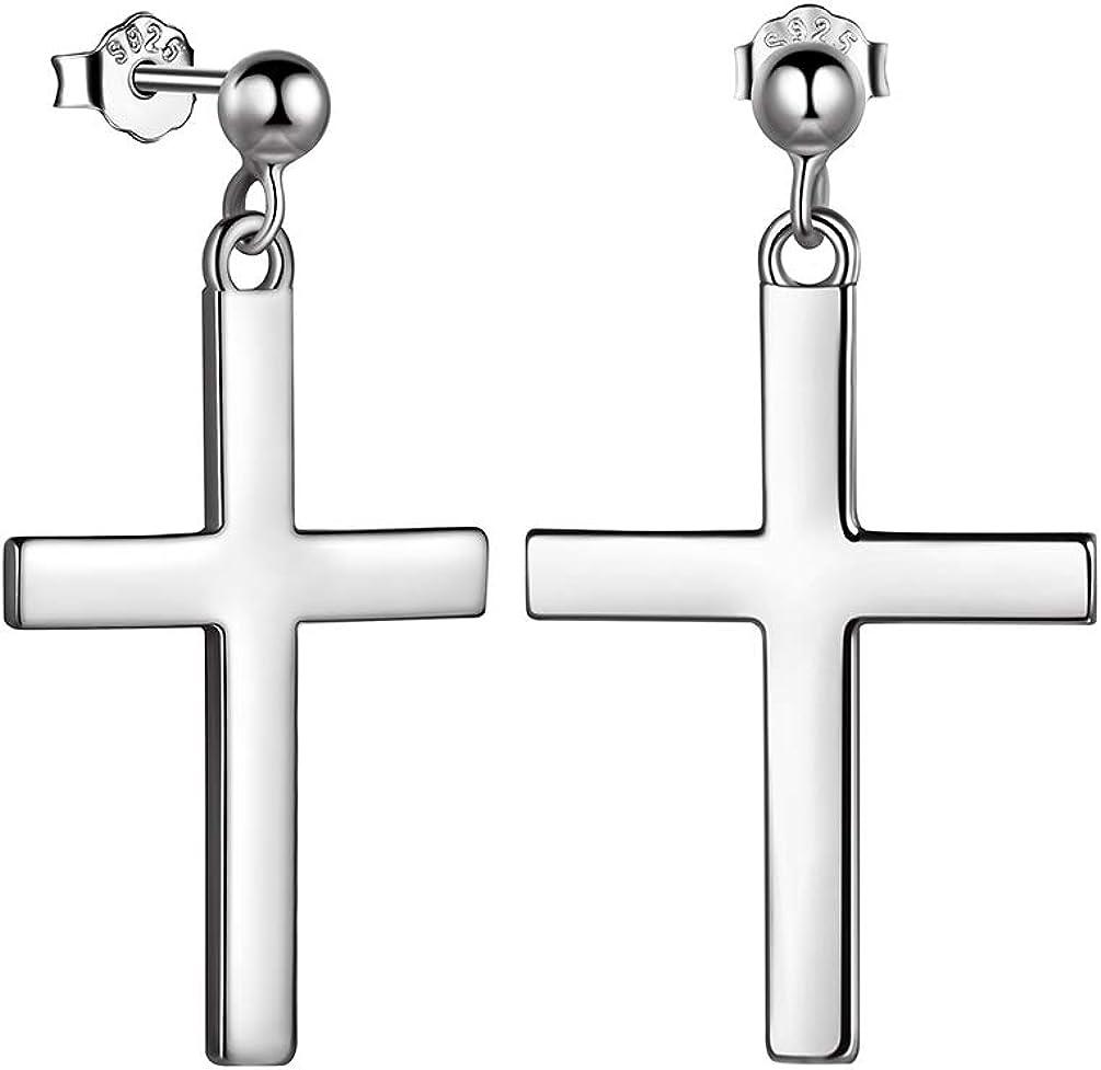 Dangling Cross Earrings Mens Women 925 Sterling Silver/18K Gold/Black Gunmetal Asymmetrical Stud Cross Earrings Christian Jewelry Valentine Gift