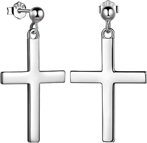 Silver JewelryWe Cross Earrings,Hip Hop Cross Dangle Earrings Stainless Steel Hoop Ear Rings for Men Women
