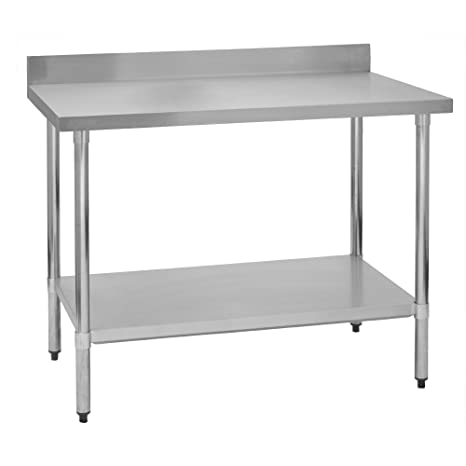 4 Backsplash 24W x 60L x 36H Fenix Sol Stainless Steel Commercial Kitchen Work Prep Table