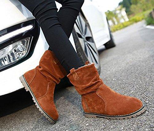 Brinny Damen Stiefeletten Western Stiefel Boots Flache Schlupfstiefel Schuhe Wildleder - Schwarz / Blau / Dunkelkhaki 10 Größe: 34-43 Dunkelkhaki