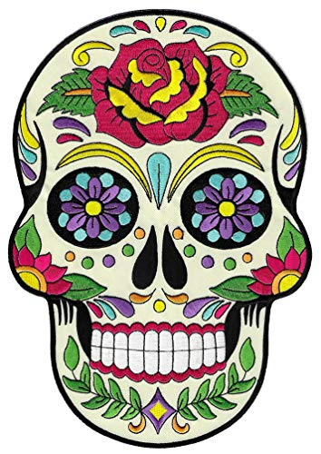 Large Sugar Skull Calavera Patch Embroidered Iron-On Skeleton Day of The Dead