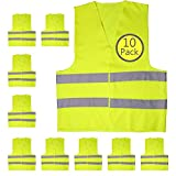 Yellow Safety Reflector Vests bulk, Pack of 10 Bright Construction Vests with Visibility Strip, Perfect for Warehouses, Traffic and Parking Parol by Upper Midland Products