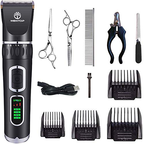 WenTop Dog Clippers 3-Speed Dog Grooming Clippers Kit USB Charge Dog Hair Clippers Low Noise Pet Clippers for Small…