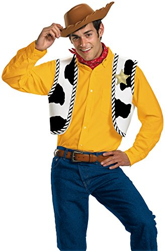 (Disguise Men's Disney Pixar Toy Story and Beyond Woody Adult Costume Kit, Yellow/Black/White/Brown, One Size)