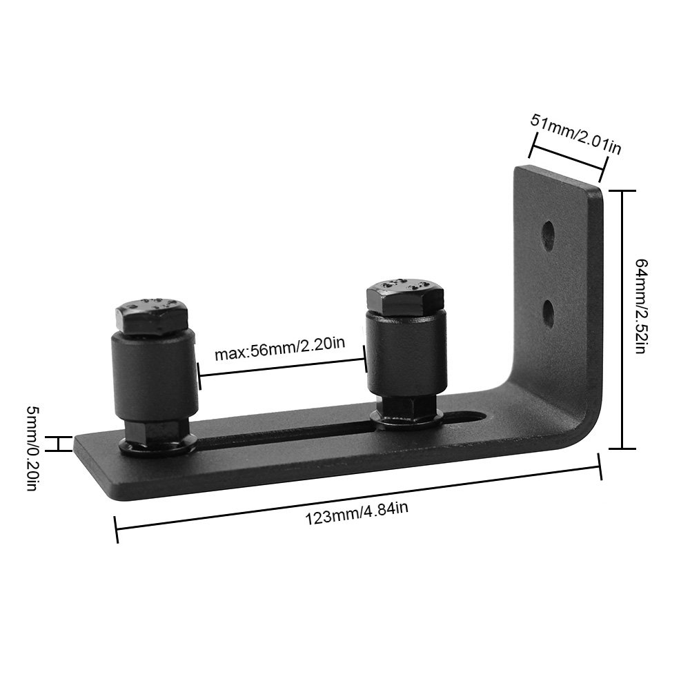 WINSOON Sliding Barn Door Guide Wall Mount Adjustable Double Roller Hardware for Bottom Black with Screws(1 Set) by WINSOON (Image #3)