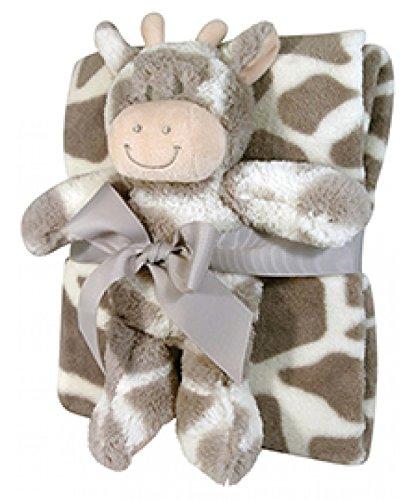 Stephan Baby Super-soft Coral Fleece Crib Blanket and Plush Toy Gift Set, Ginny Giraffe (Sprinkles Giraffe)