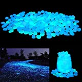Unime Glow in the Dark Garden Pebbles Stones Rocks for Yard and Walkways Decor, DIY Decorative Luminous Stones in Blue (200 PCS)