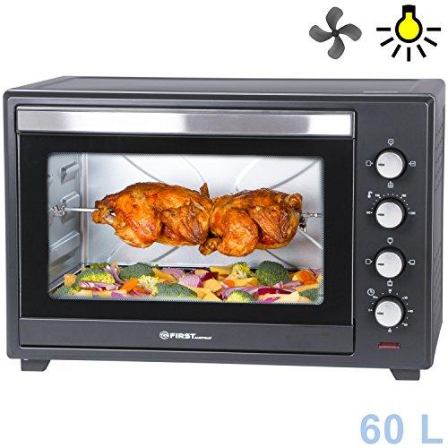 60 Liter Mini-Backofen mit Krümelblech | Innenbeleuchtung | Drehspieß | Umluft-Funktion | Platz für 2 Pizzen auf einem Gitterrost | Doppelglastür | Mini-Pizza-Ofen