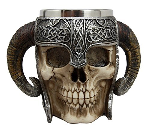Atlantic Collectibles Viking Ram Horned Pit Lord Warrior Skull With Battle Helmet Beer Stein Tankard Coffee Cup Mug