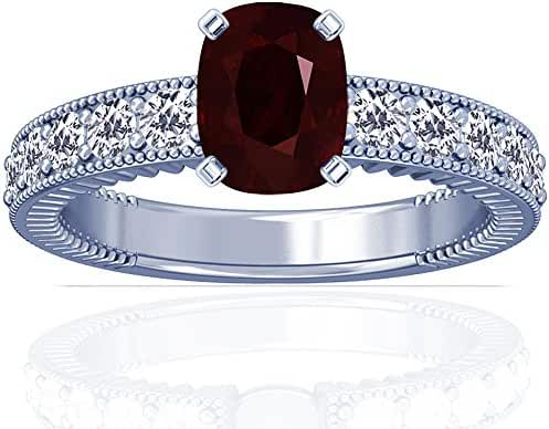 Platinum Cushion Cut Ruby Ring With Sidestones (GIA Certificate)