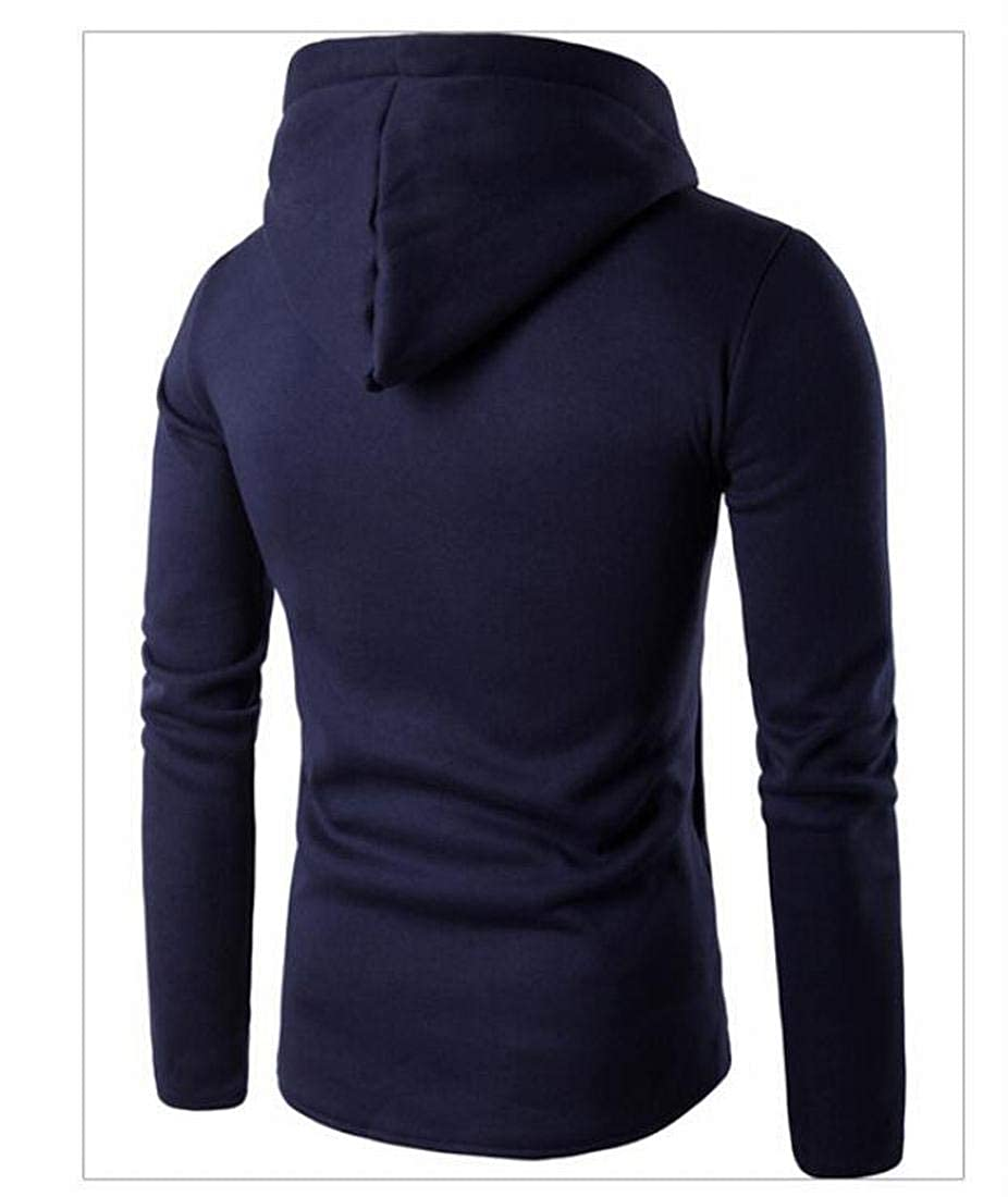 UUYUK Men Winter Warm Long Sleeve Hooded Drawstring Sweatshirts Coat