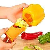 HHBack 2 Pcs/Set Multifunction Green Pepper Chili Core Separator Device Plastic Tomato Fruit Vegetable Cutter Kitchen Toolsute (Yellow)