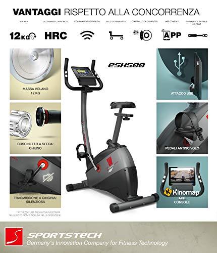 """Sportstech Ergometro ESX500 Marchio di qualità Tedesco- Eventi Video e Multiplayer App+5,5"""" Display, Volano da 12KG, Compatibile Cintura pulsazioni -Cyclette silenziosa 2 spesavip"""