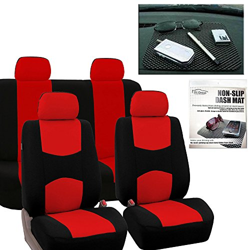 FH GROUP FB050114 Full Set Flat Cloth Car Seat Covers, Red / Black w. FH1002 Non-slip Dash Grip Pad Mat - Fit Most Car, Truck, Suv, or Van - Red Sport Series Slip