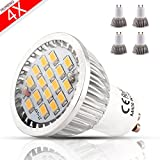 MUMENG 500LM GU10 Base 16SMD 2835 LED 5.5W 3000K Warm White Bulb 110V Replaces 50W Halogen 120 Degree Beam Angle for Office, Home, Recessed, Accent, Landscape, Track Lighting Pack of 4 Units