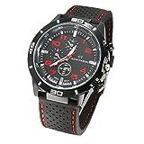Jingjing1 Men's Sports Wrist Watches Quartz Military Watch Rubber Silicone Analog Wristband (Red)