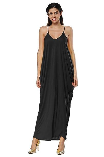 dc98308d518 YMING Women s Plus Size Casual Dress Summer Beach Dress V Neck Long Dress  Black S