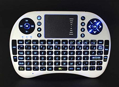 Color: White Calvas Mini Blacklight Wireless Keyboard 2.4GHz English Version Backlit Air Mouse Remote Control Touchpad For Android TV Box