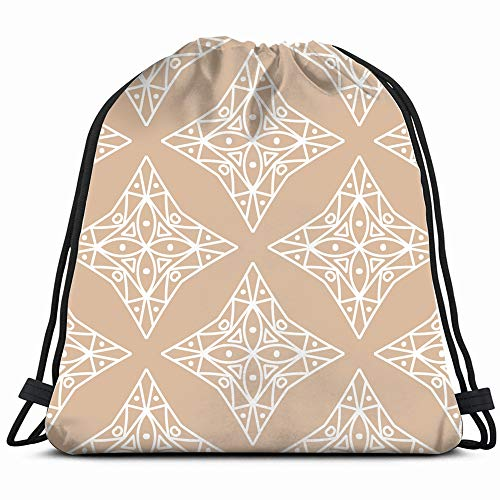 Beige White Geometric Ornament Abstract Drawstring Backpack Gym Dance Bags For Girls Kids Bag Shoulder Travel Bags Birthday Gift For Daughter Children ()