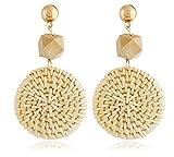 Wood grass rattan woven bohemian vintage handmade geometric earrings (1)