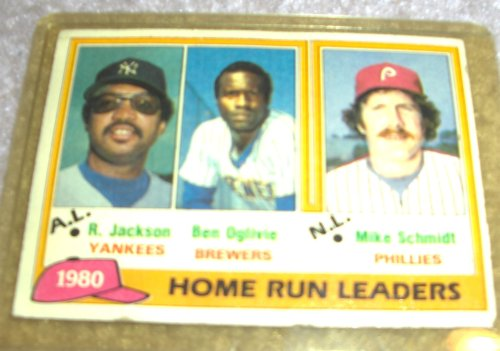 1981 Topps Reggie Jackson, Ben Oglivie, and Mike Schmidt # 2 MLB Baseball Home Run Leaders Card
