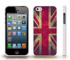 iStar Cases? iPhone 5/5S Case with U.K Flag Distressed Design , Snap-on Cover, Hard Carrying Case (White)