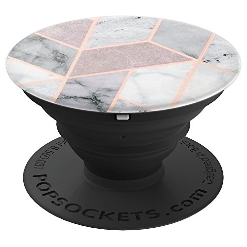 Pop Socket Marble Pink, White And Rose Gold Glitter Design - PopSockets Grip and Stand for Phones and Tablets