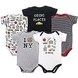 Hudson Baby Cotton Bodysuits, New York City 5 Pack, 0-3 Months