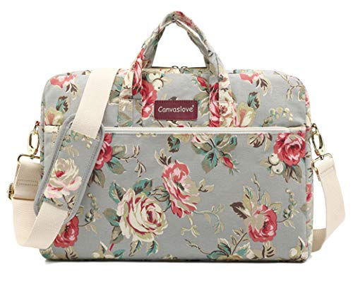 Canvaslove Grey Rose Pattern 15 inch Waterproof Laptop Shoulder Messenger Bag Case with Rebound Bubble Protection for 14 inch-15.6 inch Laptop (Bible Purse)