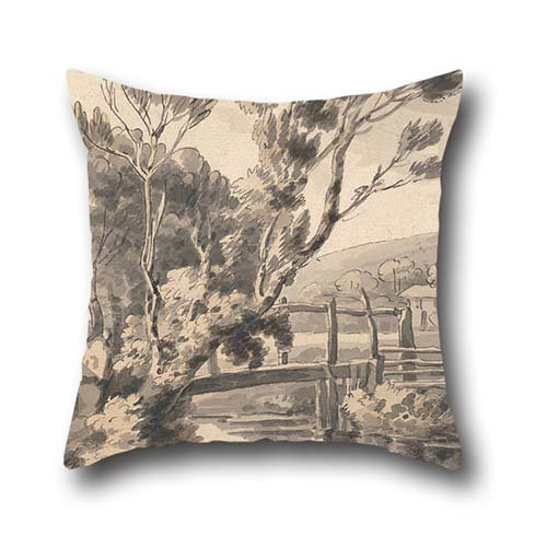 - The Oil Painting Francis Towne - The Foot Bridge Throw Cushion Covers Of ,18 X 18 Inches / 45 By 45 Cm Decoration,gift For Coffee House,valentine,kitchen,gf,kids,family (twice Sides)