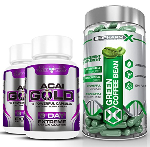Biopharm-X Green Coffee Bean Extract & Acai Berry Gold : Max Strength Diet / Detox & Weight Loss Bundle (1 Month Supply) For Sale