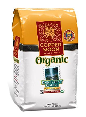 Fair Trade Whole Bean - Copper Moon Fair Trade Organic Whole Bean Coffee, Rainforest Reserve, 2 Pound