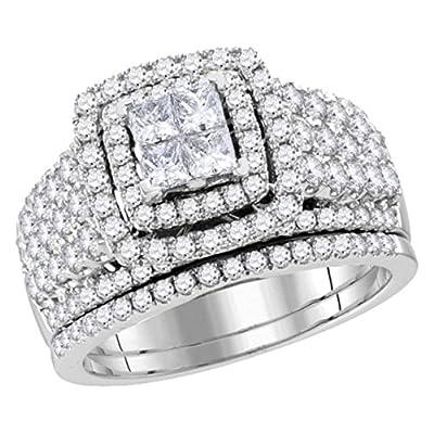 14K White Gold Wedding Ring 2.00ctw Princess Cut Diamonds Wide Ring