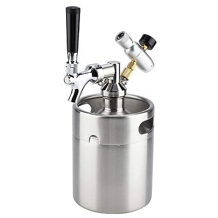 Dispensador de Cerveza, Tirador de Cerveza, de Acero Inoxidable, 2L Barril Cerveza,