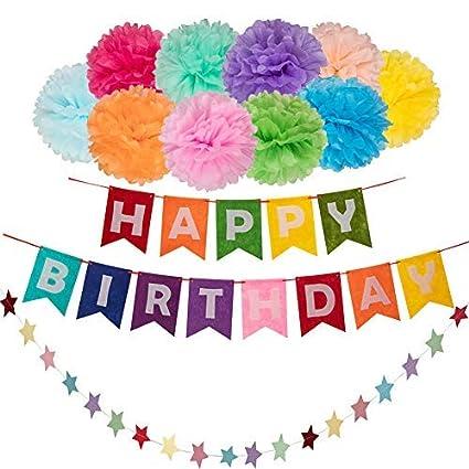 Amazon Com 12pc Rainbow Happy Birthday Banner Colorful Tissue Paper