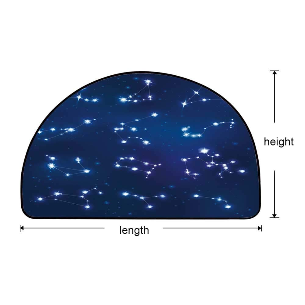 YOLIYANA Constellation Semi Circle Mat,Realistic Celestial Gemini Leo Pisces Sagittarius Galactic Carpet Indoor Mat,25.9'' H x 51.1'' L by YOLIYANA (Image #5)
