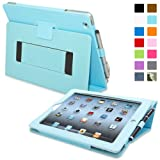 Snugg Leather Kick Stand Case for Apple iPad 2 - Baby blue