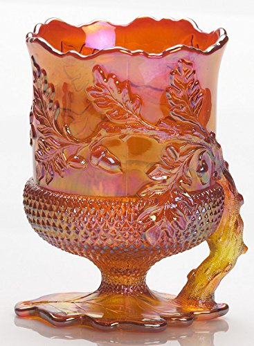 Spoon Holder/Spooner - Acorn Pattern - Mosser Glass - USA (Marigold) by Rosso Glass