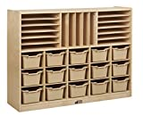 ECR4Kids Birch Multi-Section Storage Cabinet with 15 Scoop Front Bins, Sand