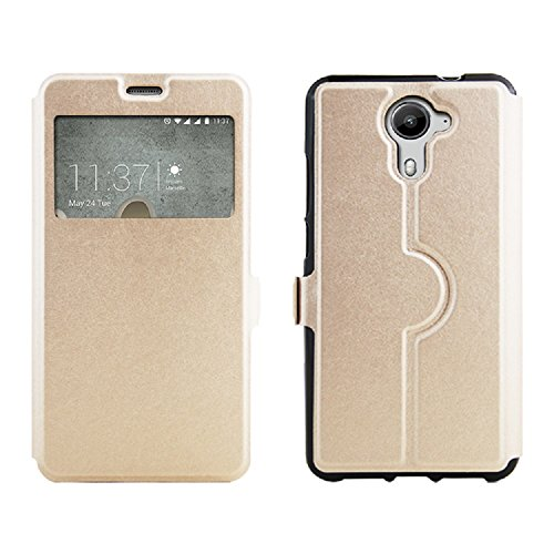 BLU Life One X2 Mini case, ZLDECO Luxury View Window Flip PU Leather Case Cover Protective for BLU Life One X2 Mini (5.0) Smartphone (Champagne Gold)