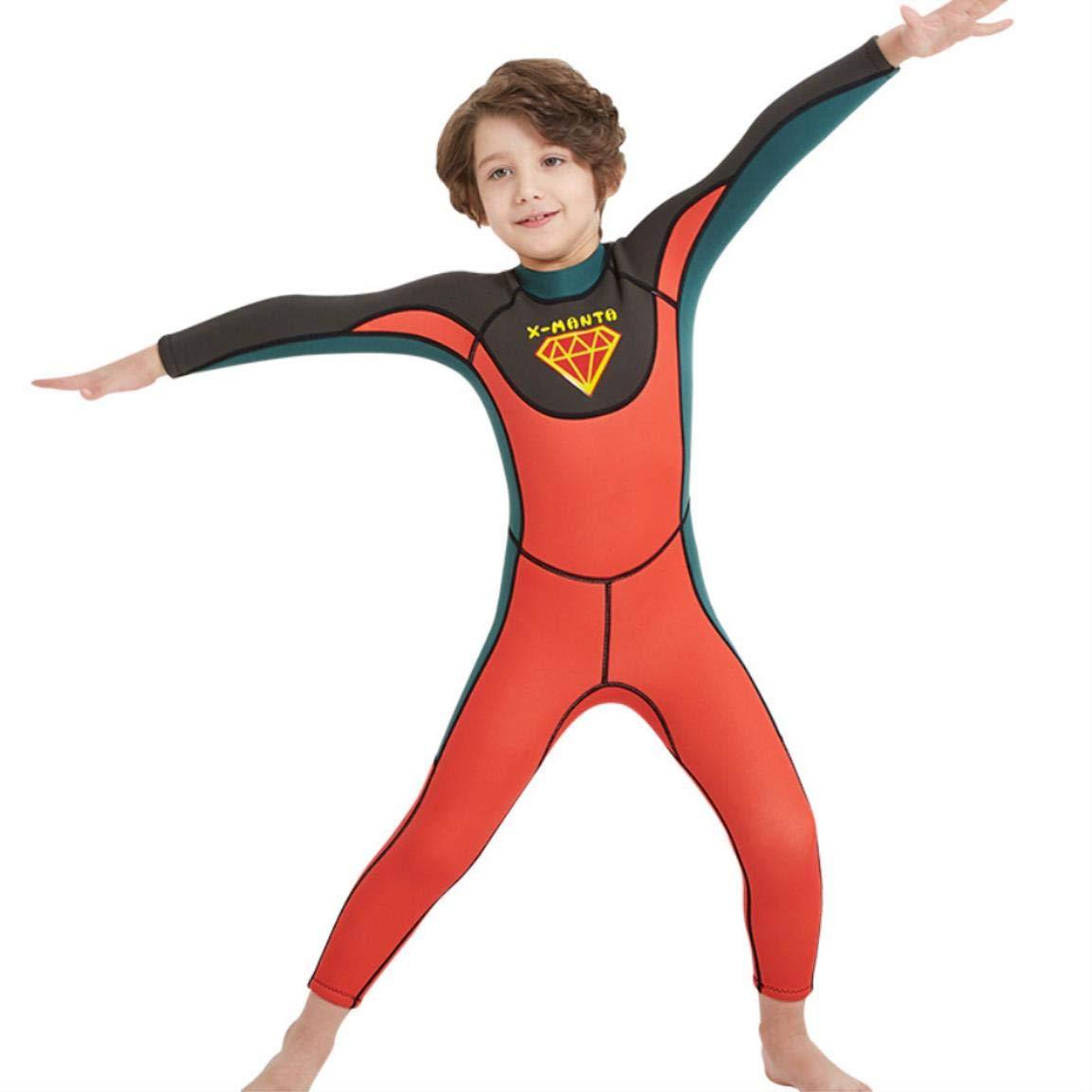 ArmyGreenorangered Small 2.5mm Wetsuitsimaese boy Diving Suit Long Sleeve Sunscreen Jellyfish Clothing Swimwear